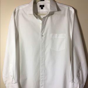 J. Crew Crisp White Dress Shirt. 120's 2 ply.